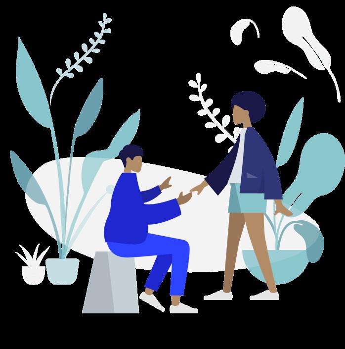home e mulher com plantas em fundo