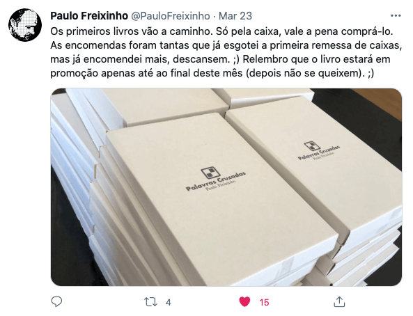 Tweet de Paulo Freixinho