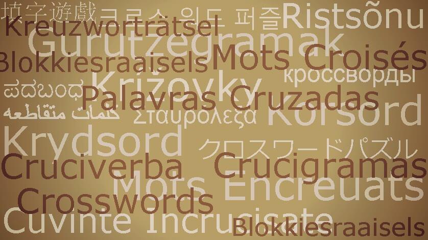 Palavras Cruzadas em 20 idiomas