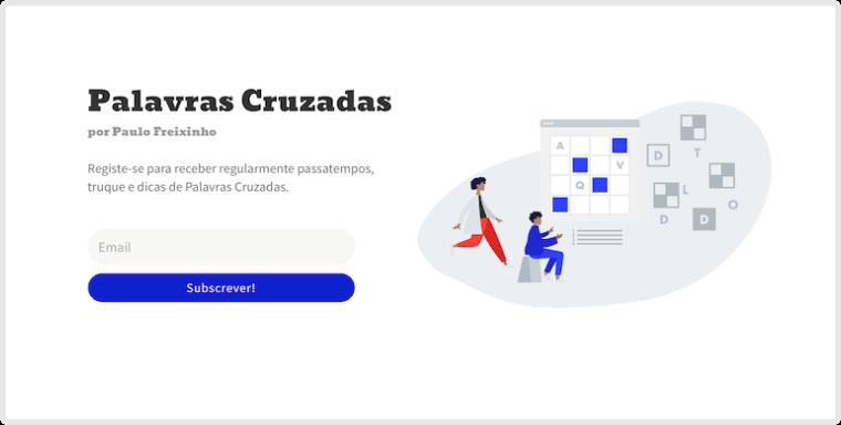 Landing Page do novo site de Palavras Cruzadas