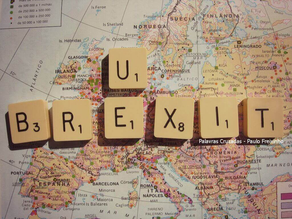 Palavra Brexit sobre Mapa