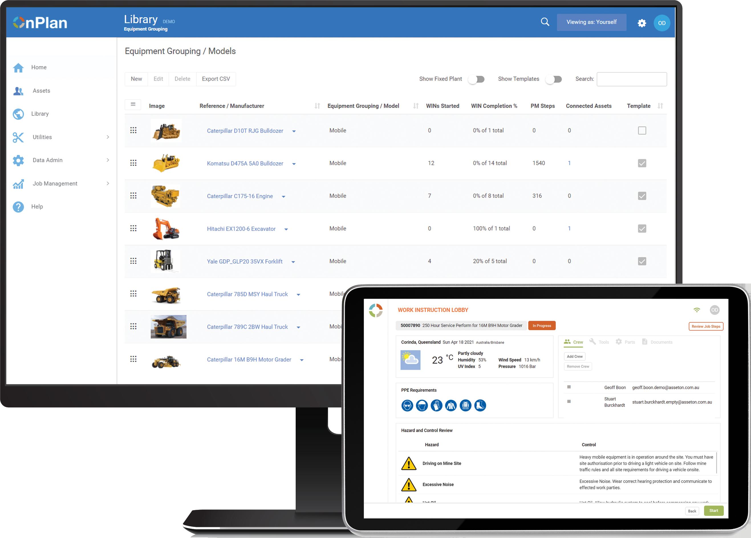 OnPlan asset management software screenshot