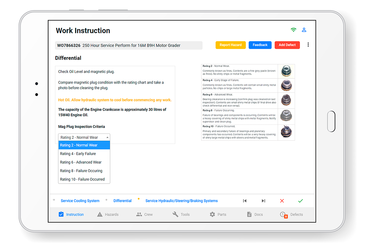 OnPlan work management software on iPad showing magnetic plug inspection.