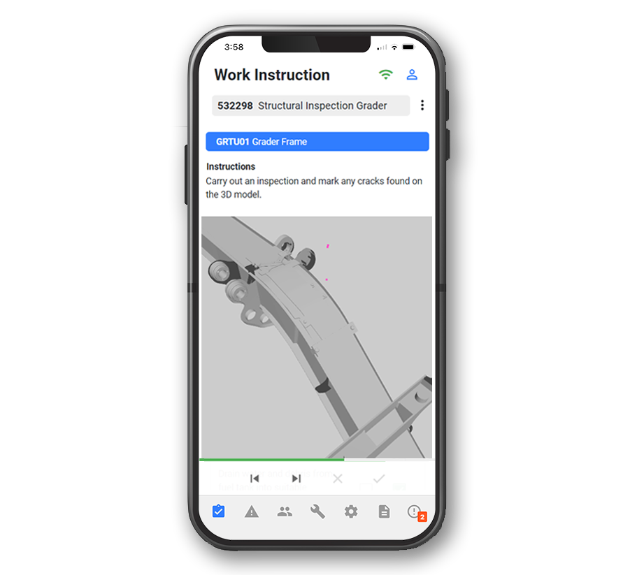 Structural crack inspections for large mining equipment on iphone and android devices.
