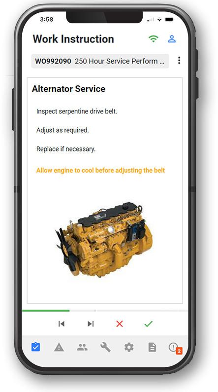 OnPlan maintenance execution app on iPhone for maintenance managers.