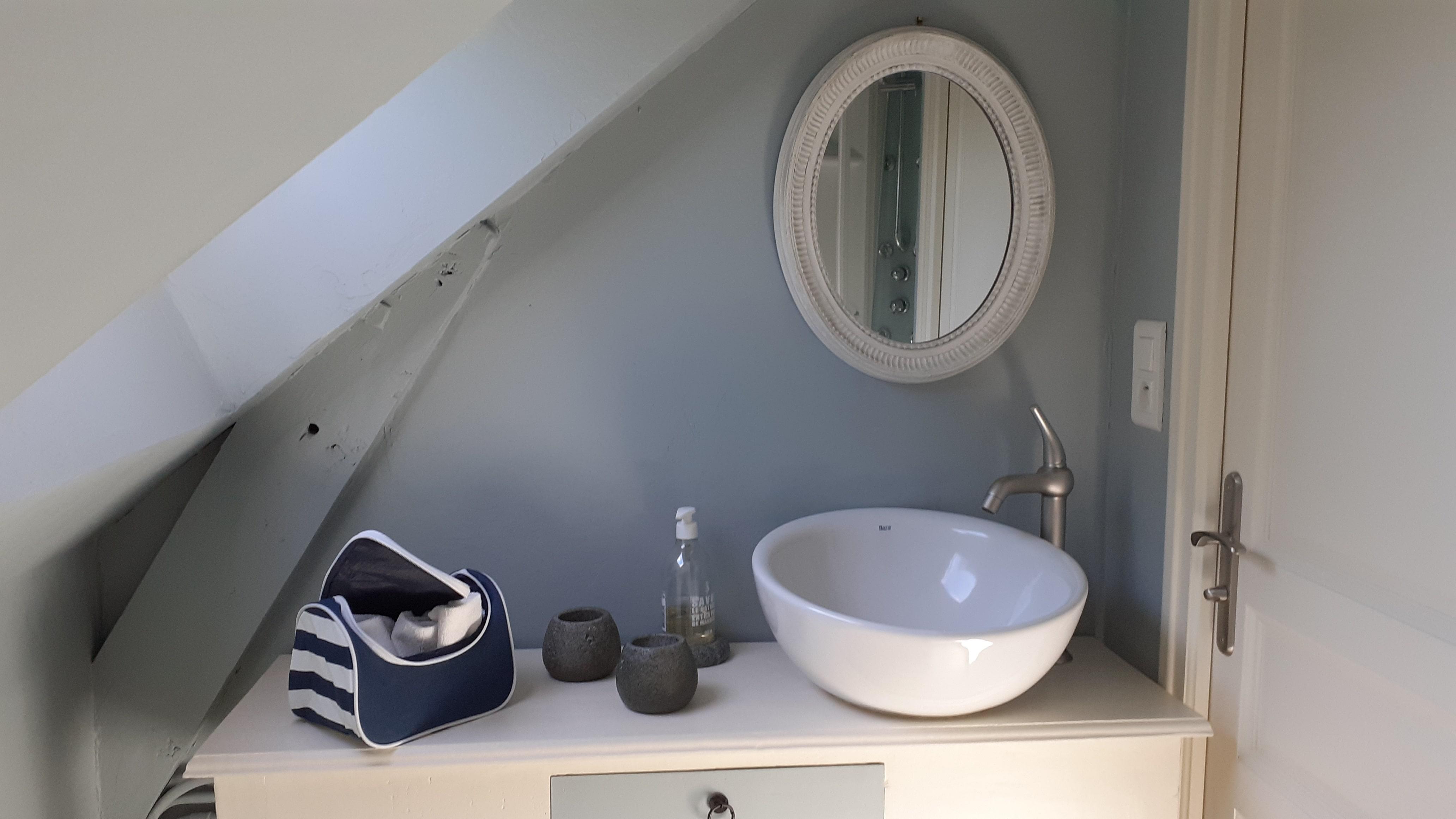 La salle de bain de la chambre avec une grande vasque.