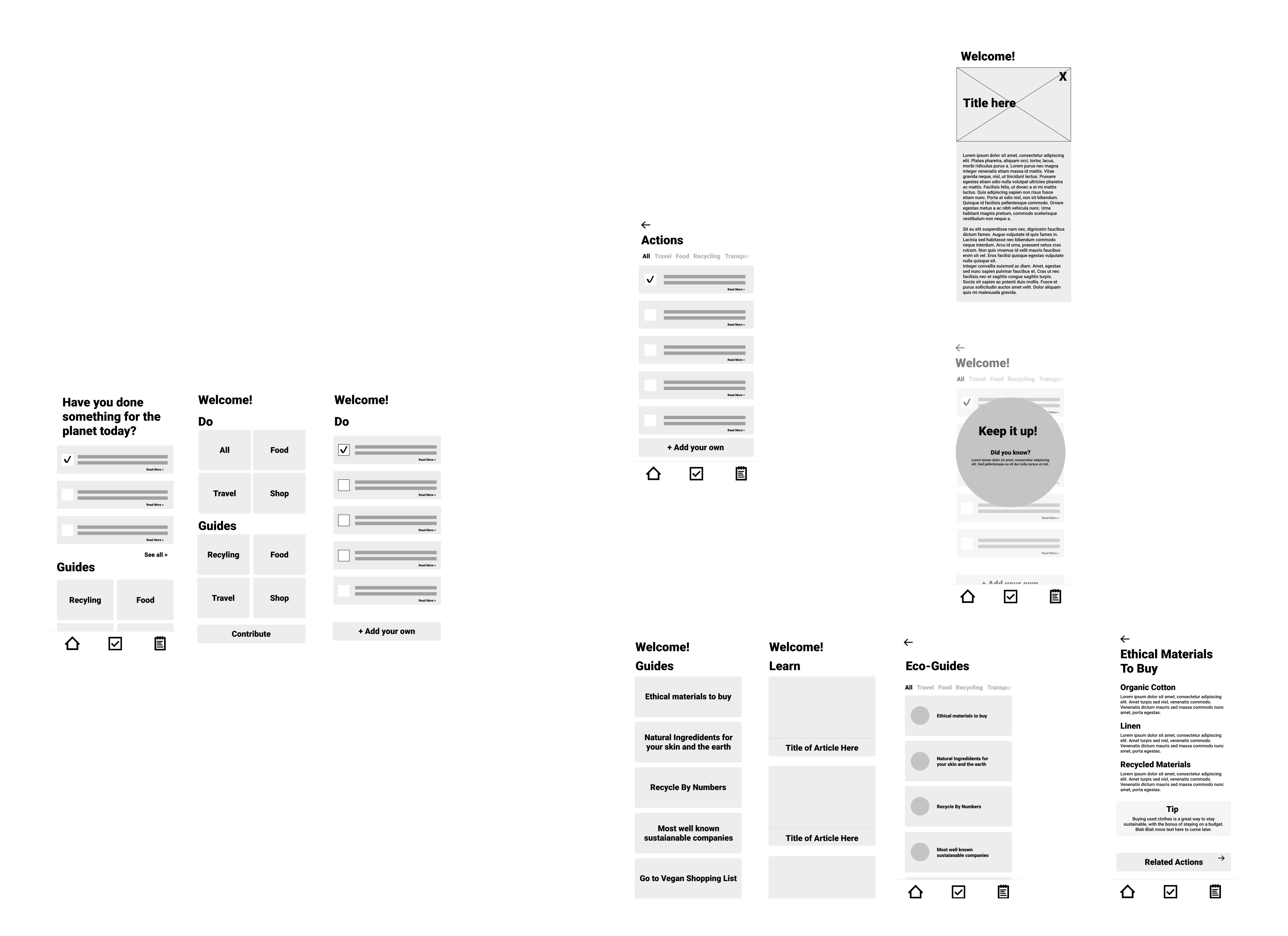 User Flow and Wireframe for the App