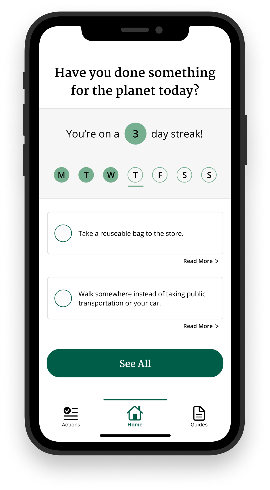 After app design doing new gamification component which shows you how many days in a row you have done something for the planet