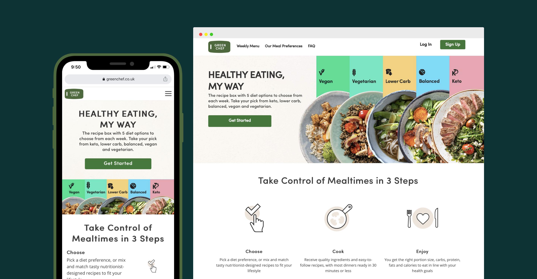 Green Chef Web design mobile and desktop images