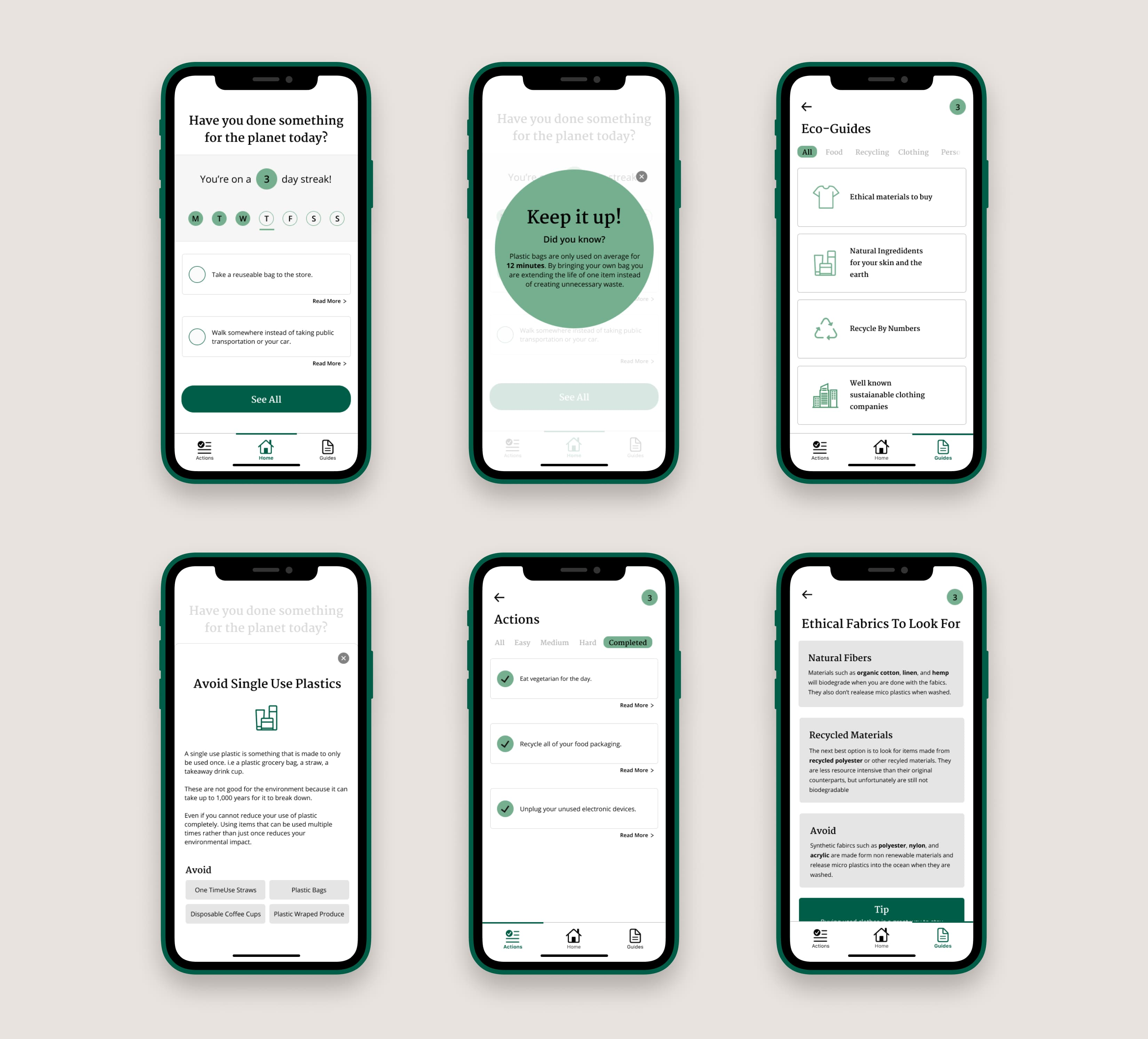Final app design showing 6 different screens