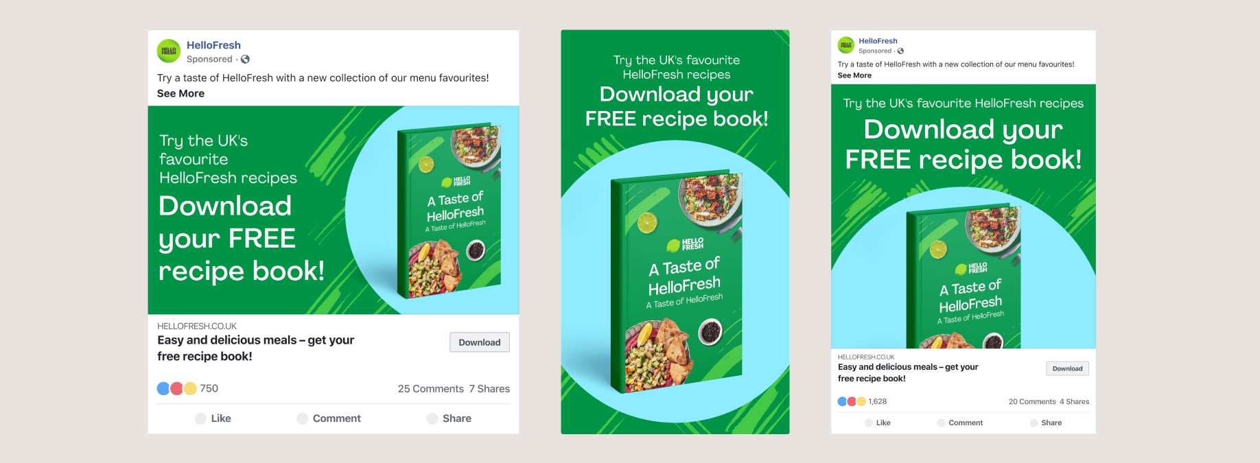 Link Ads and Story Ad for Lead Generation Cookbook Ad. Showing Text and cookbook image on a green and blue background