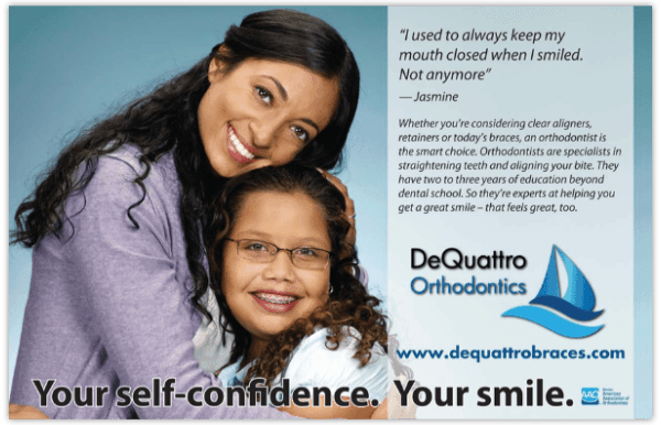 orthodontic postcard marketing for a straighter smile