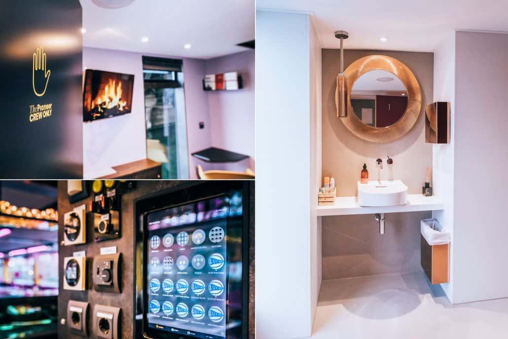 Collage mit Crew-Raum, Badezimmer und Elektro-Steuerung