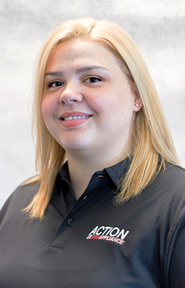 Photo of Ashley. Secretary of Action Appliance. For help please call us at 469-387-4596.