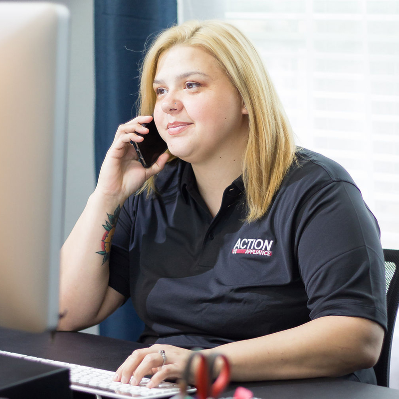 Ashley ready for your call at Action Appliance