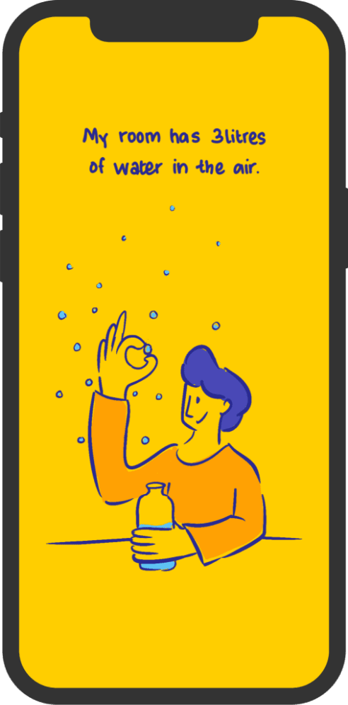 mobile illustration with wallpaper of a boy touching water molecules