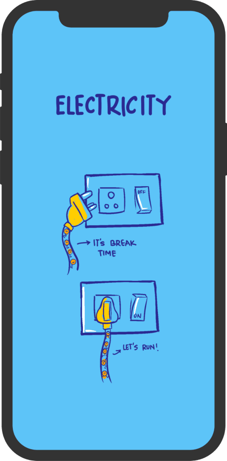 mobile illustration with electricity wallpaper