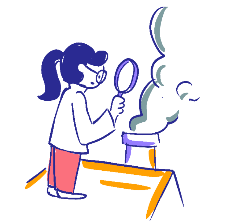 Right profile genius girl illustration