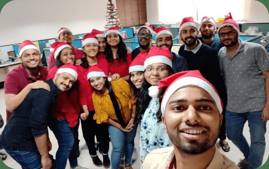 Happy people wearing santa claus hat