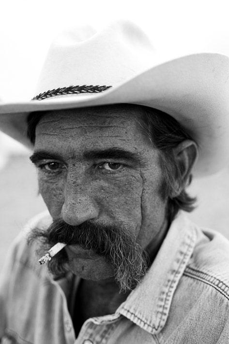 Photo portrait professionnelle par Stevens Frémont, photo portrait cowboy Texas usa en noir et blanc