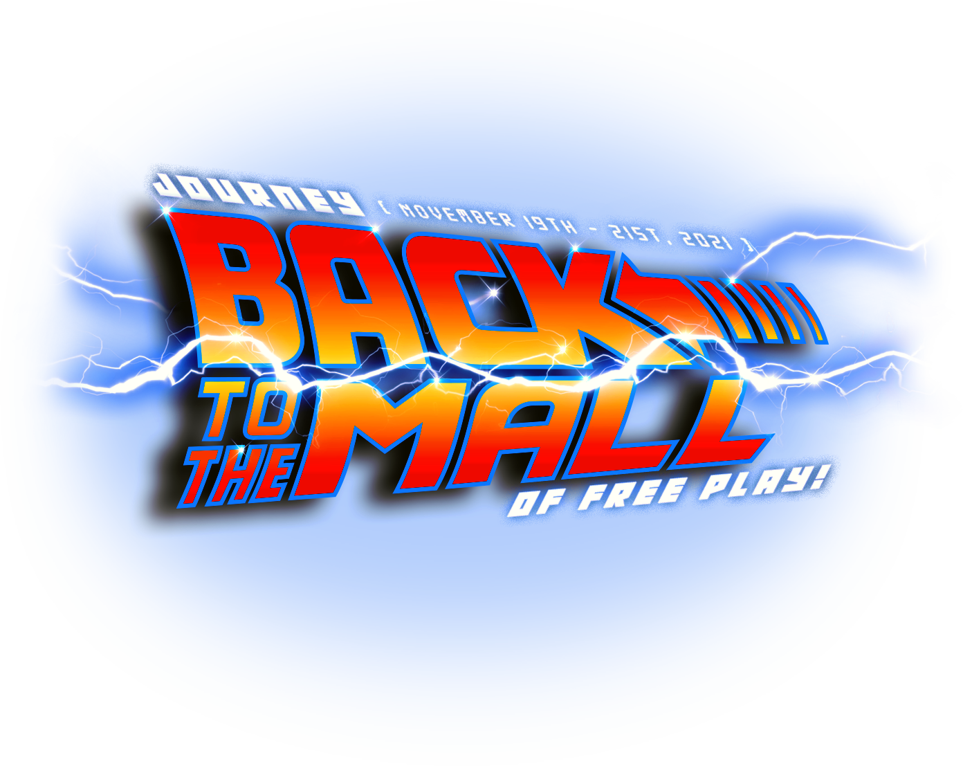 Back to the Mall themed logo for the 2021 Free Play Florida Show!