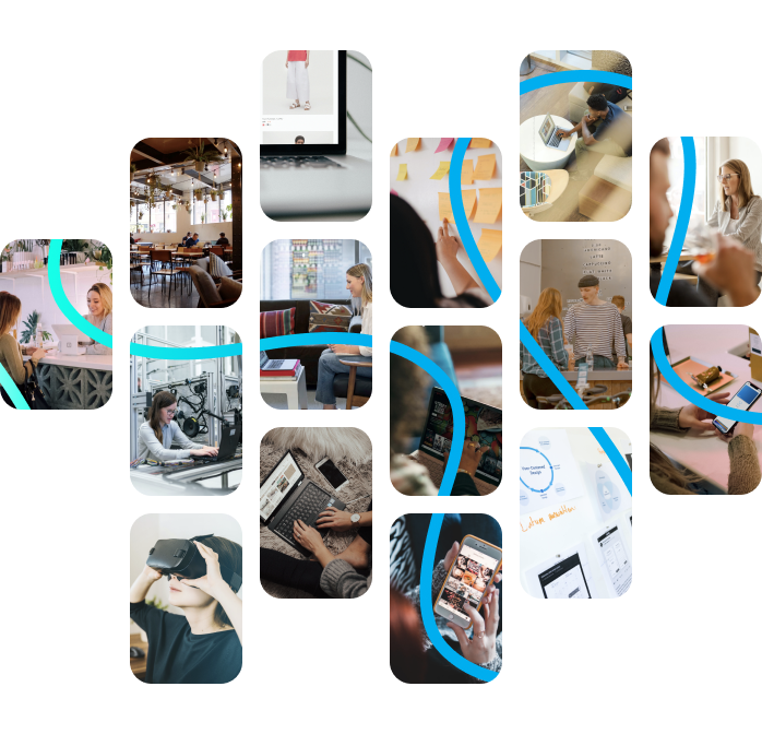 Photos showing people working in retail, voluntary, manufacturing sectors.