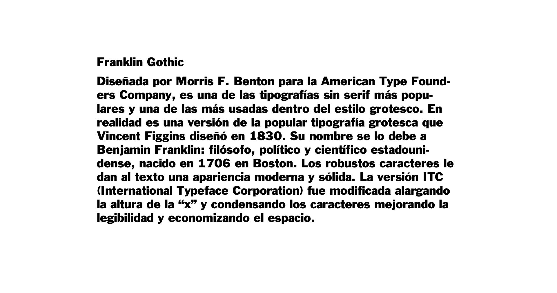 Franklin Gothic typography