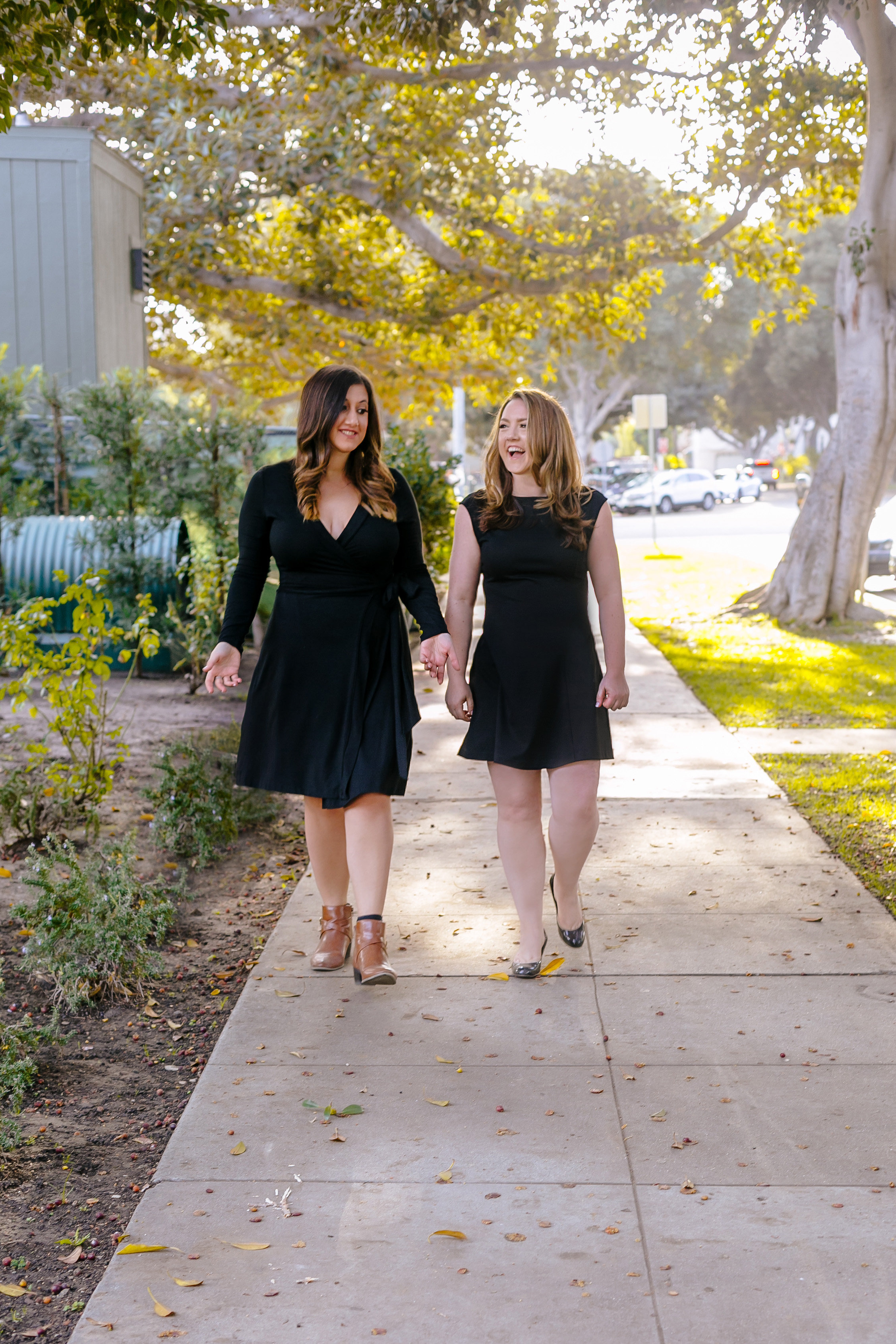 A photo of Stephanie and Rachel walking down the street.