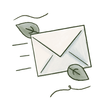An illustration with envelope and leaves around.