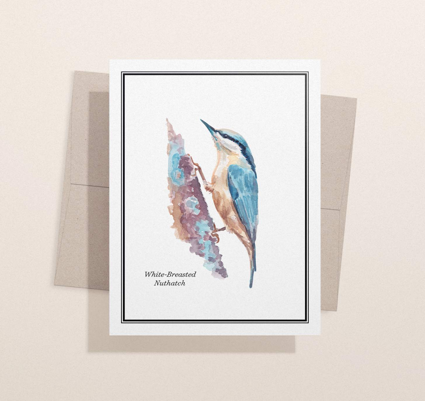 Blue and white bird sitting on brown branch design with brown envelope and light brown background