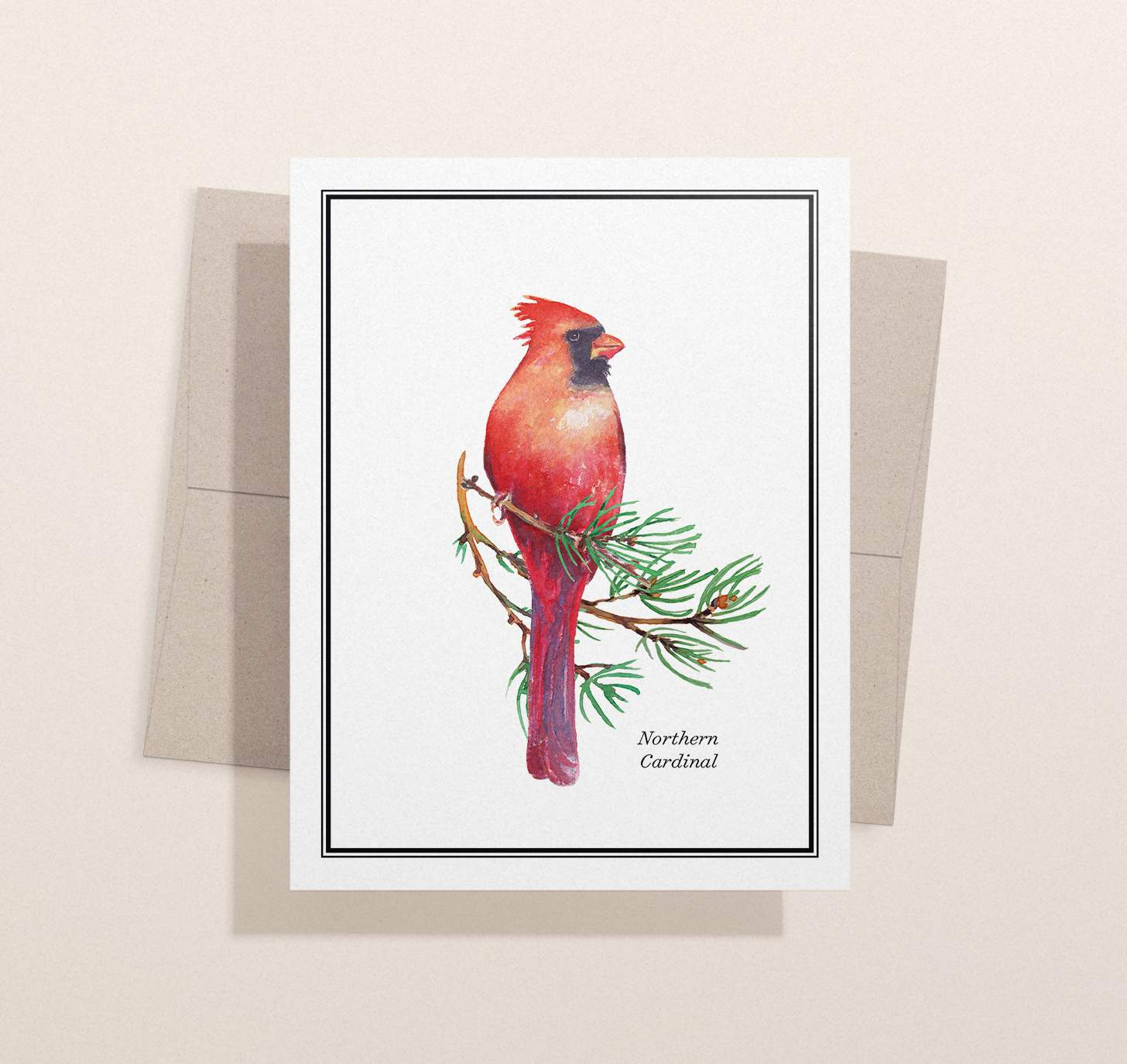 Red and black bird sitting on pine branch design with envelope and light brown background