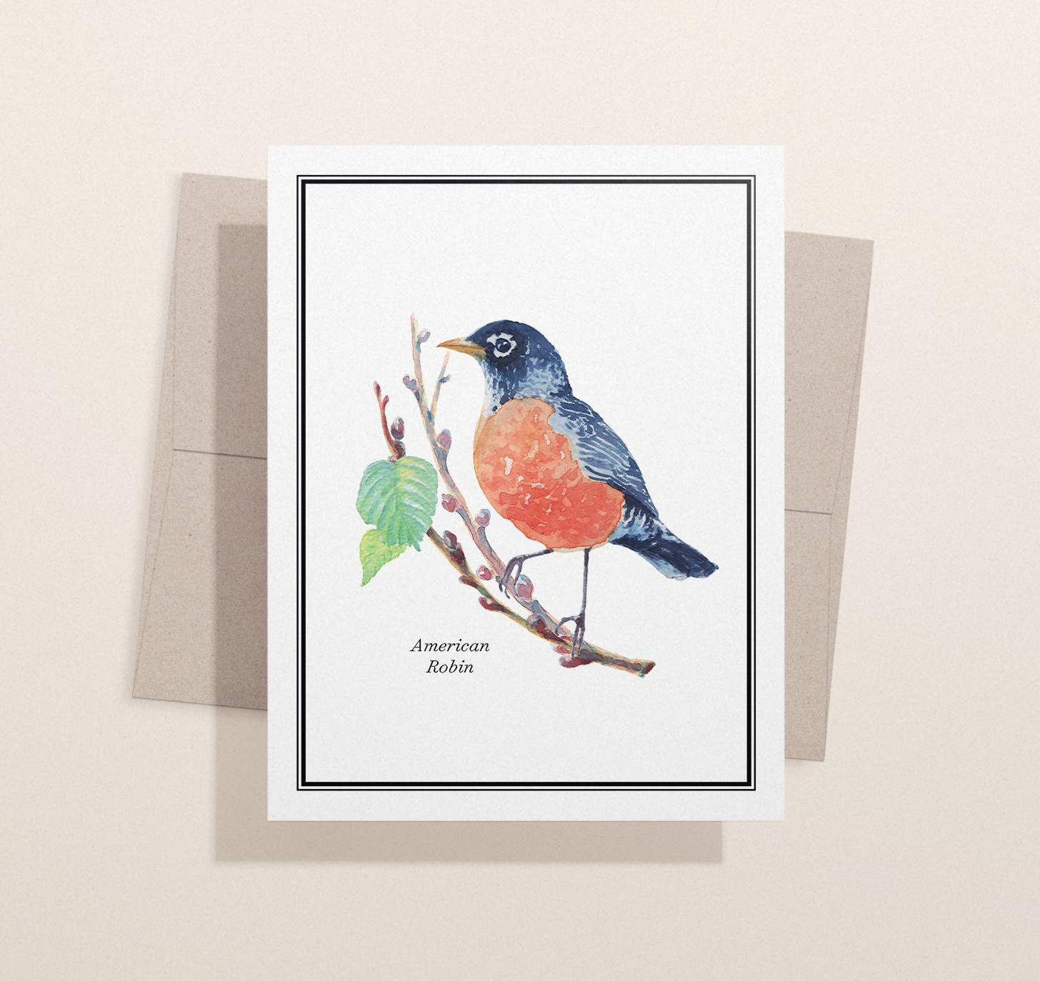 Red and black bird sitting on brown branch design with envelope and light brown background