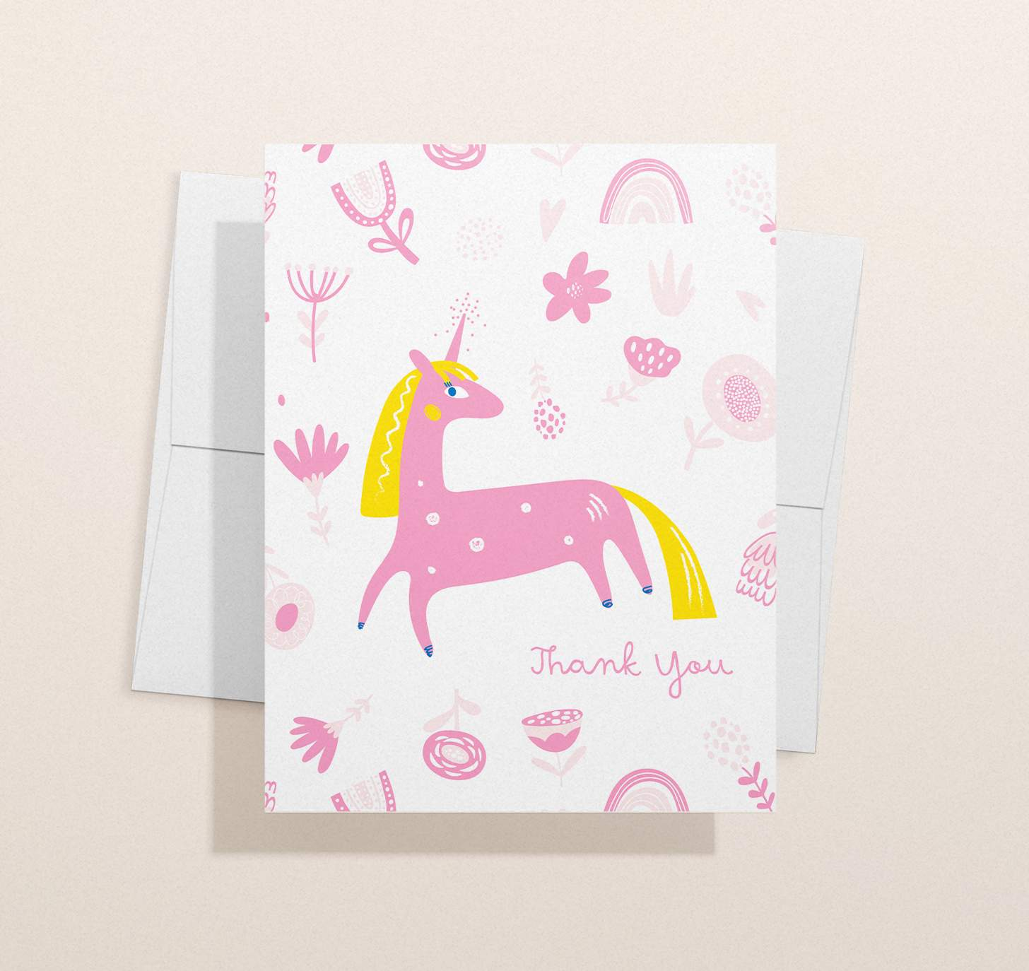 Colorful pink unicorn design with envelope