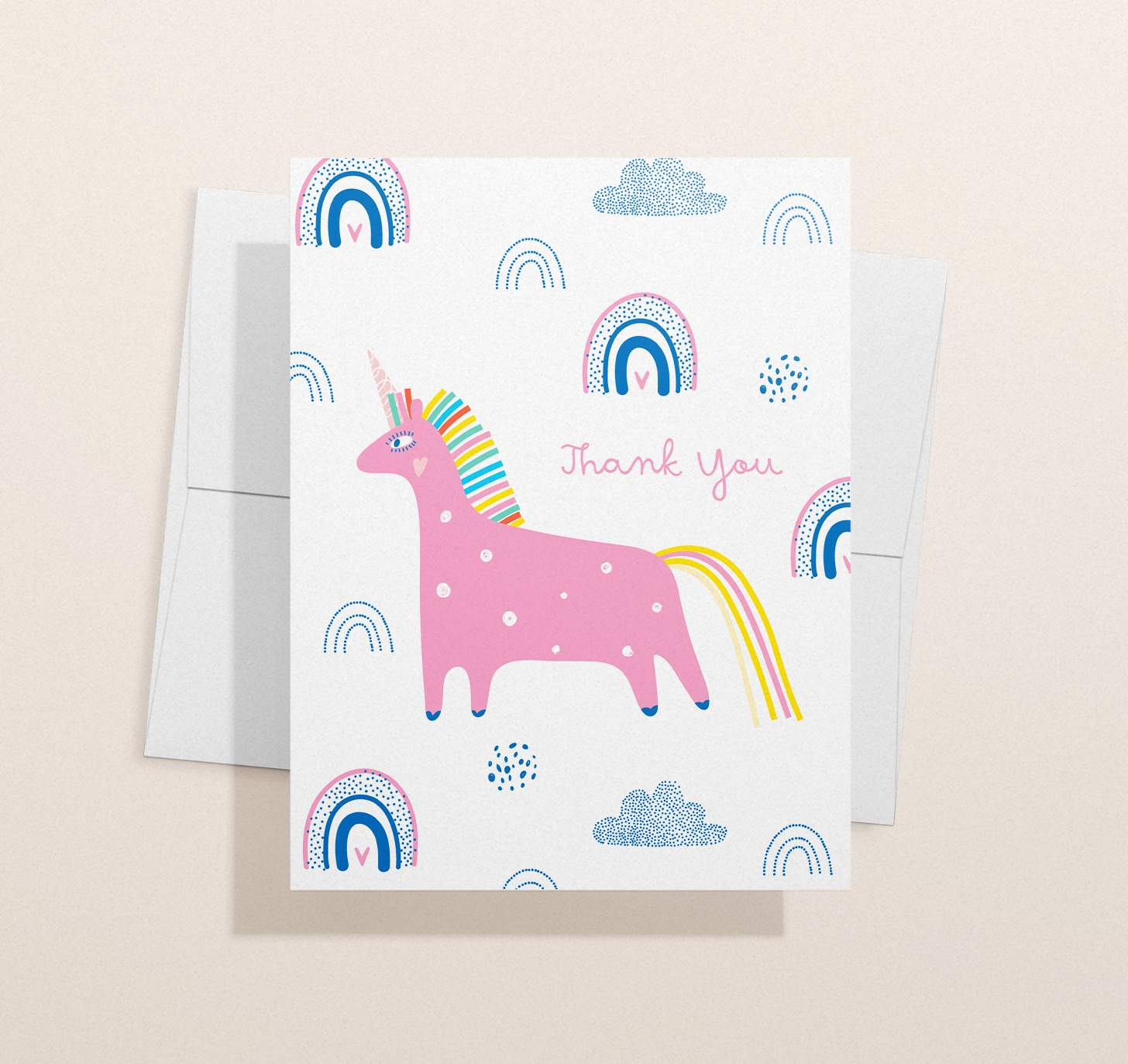 Colorful pink and blue unicorn design with envelope