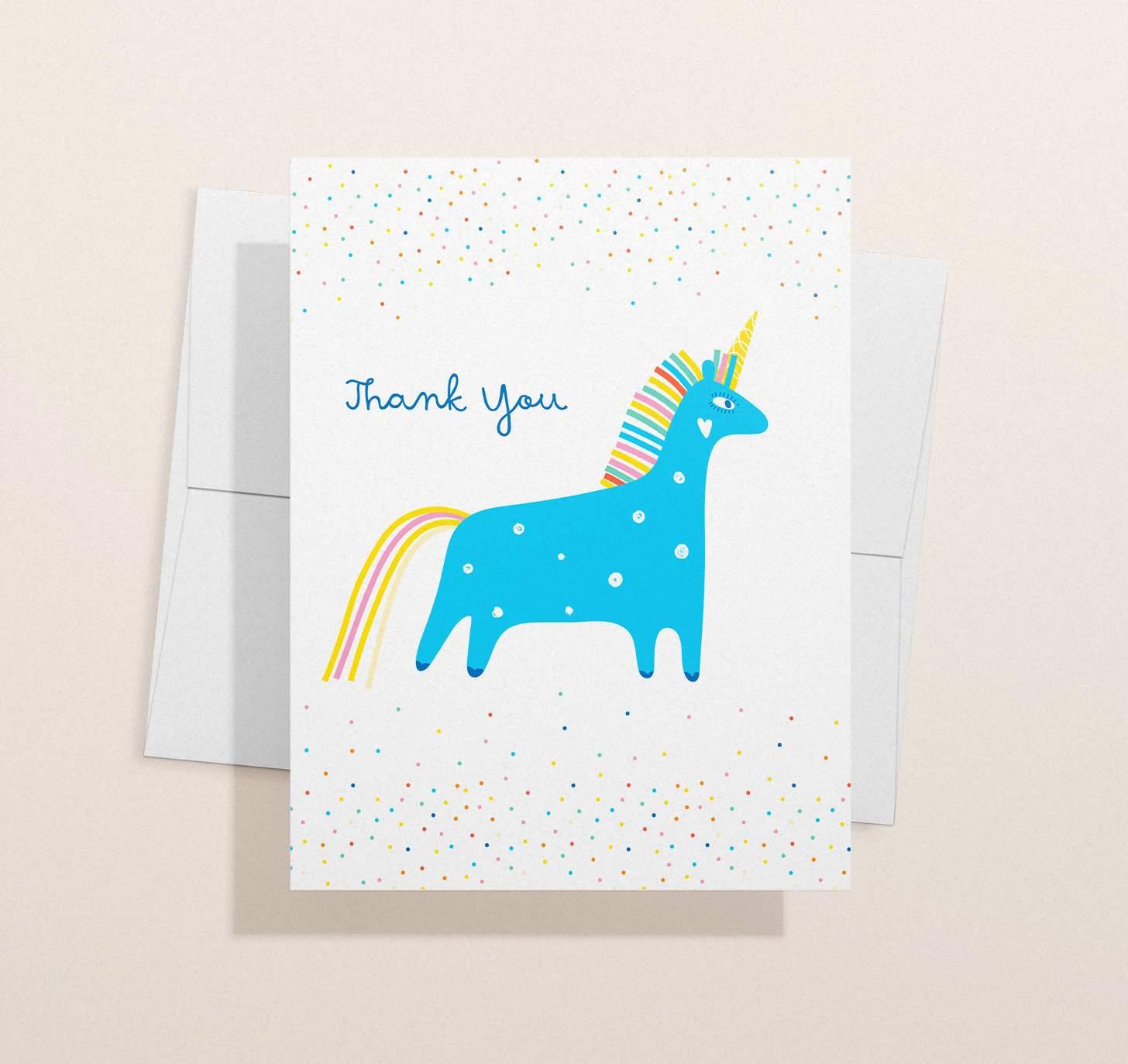 Colorful blue unicorn design with envelope