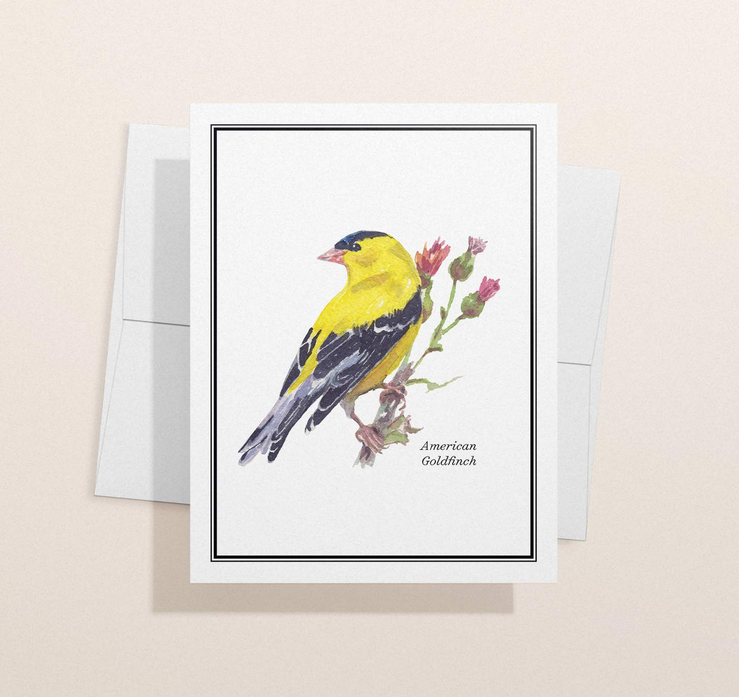 Yellow and gold bird sitting on green branch design with envelope and light brown background