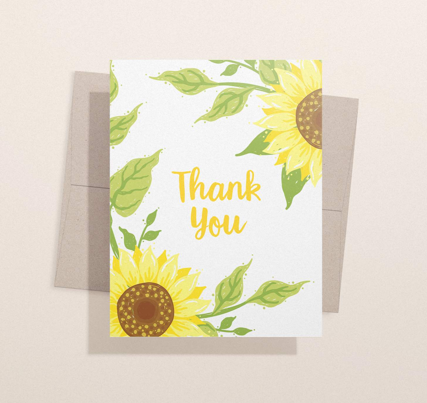 Yellow sunflower split design with envelope