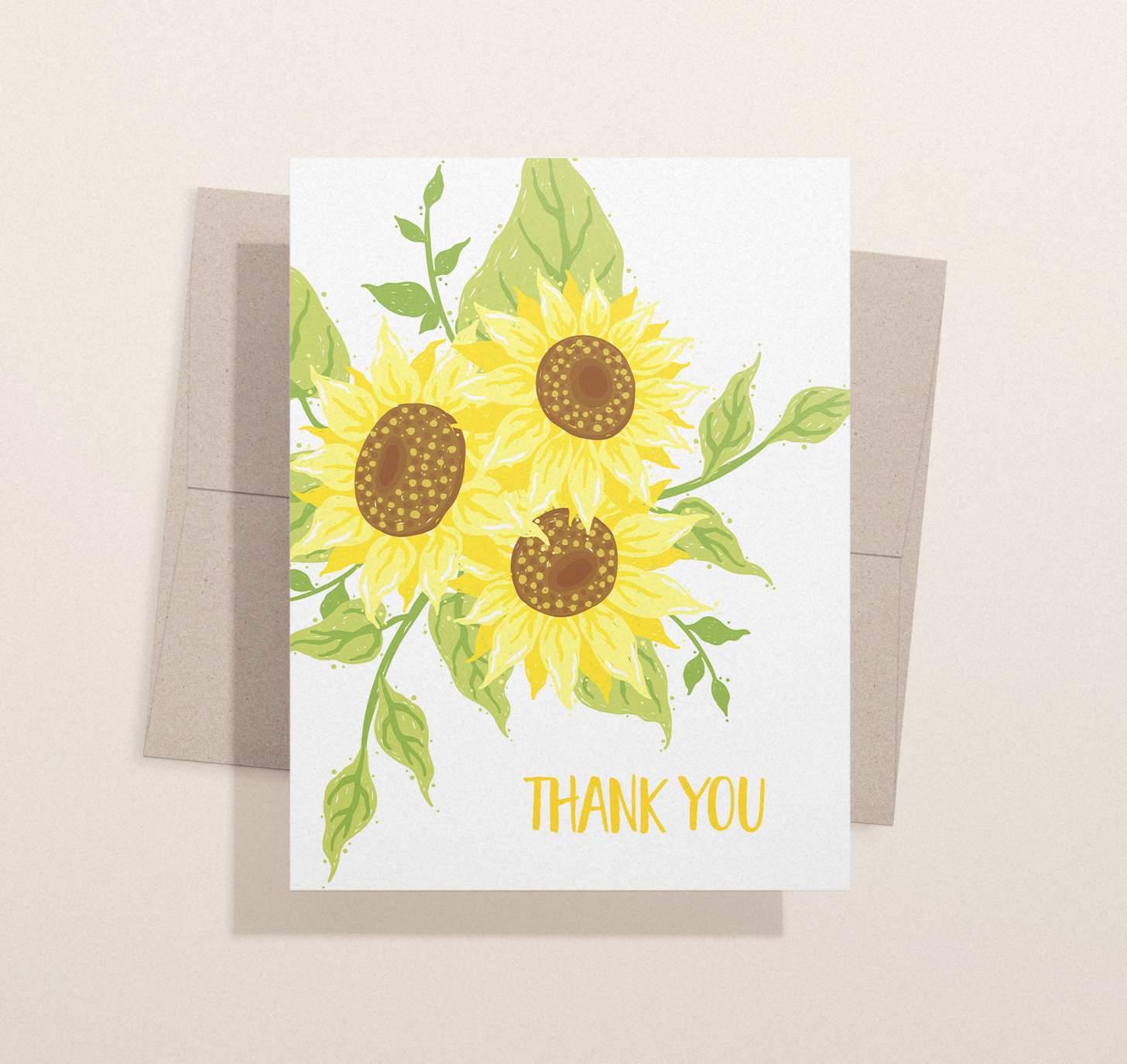 Three yellow sunflowers design with envelope