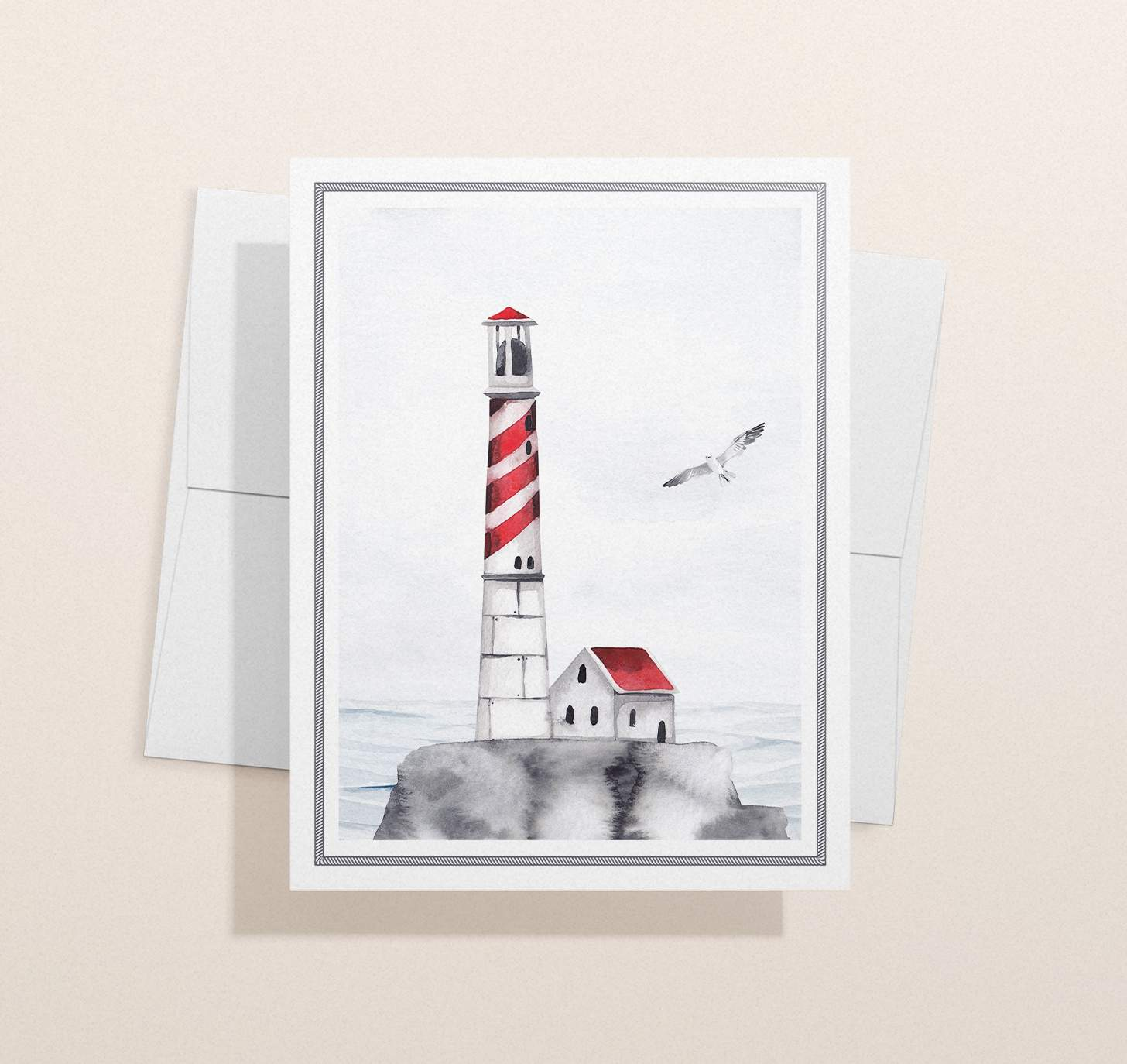 Red striped lighthouse design with ocean with envelope