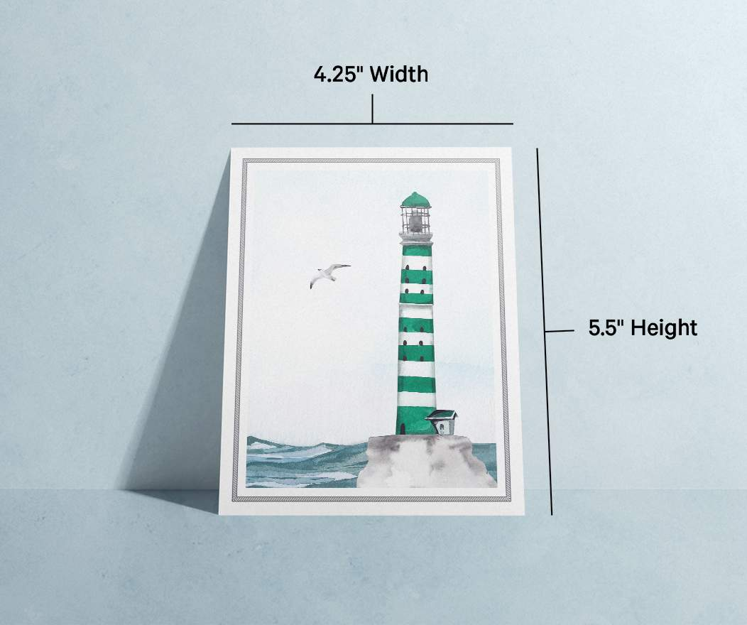 Card specifications info; 100% recycled paper, eco inks, blank interior