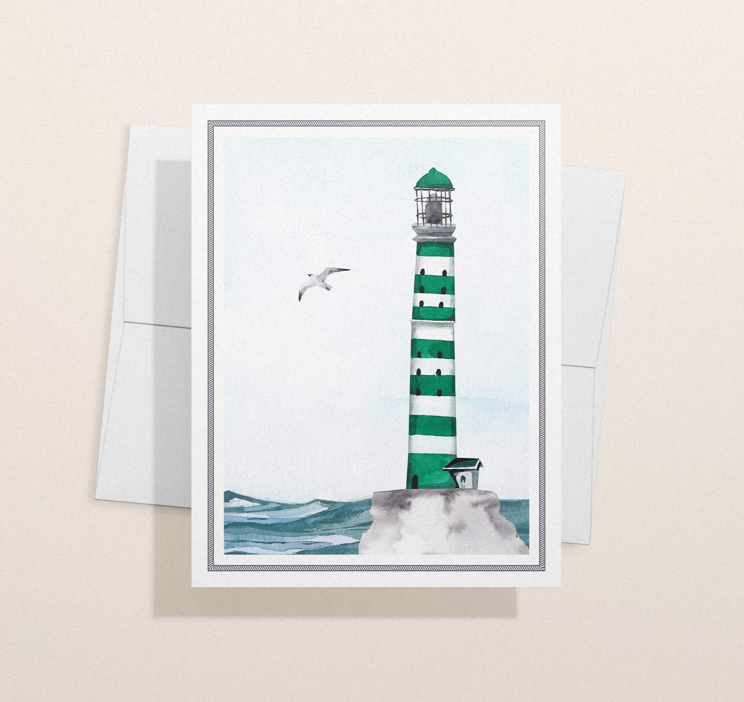 Green striped lighthouse design with ocean with envelope