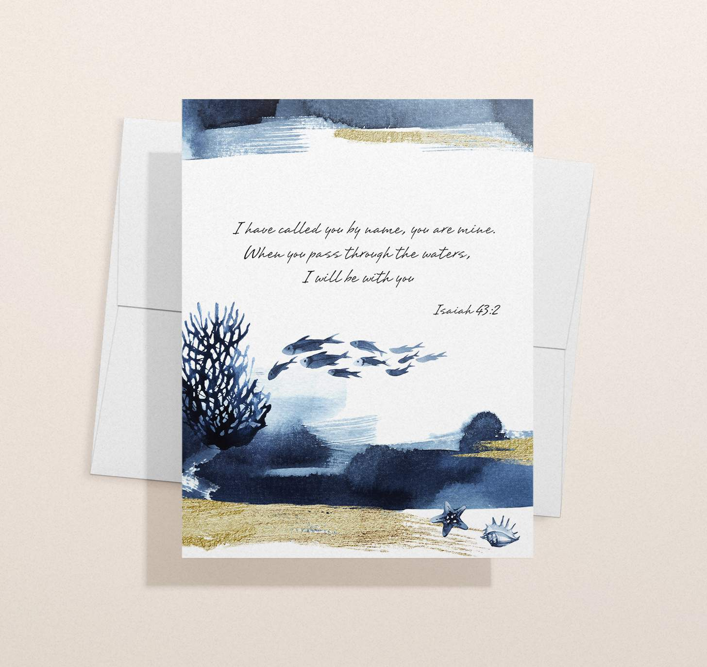 Blue ocean themed sympathy design with envelope