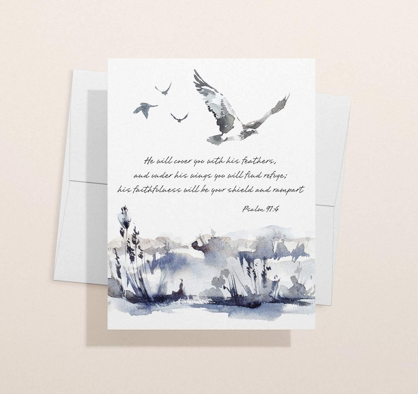 Gray bird themed sympathy design with envelope
