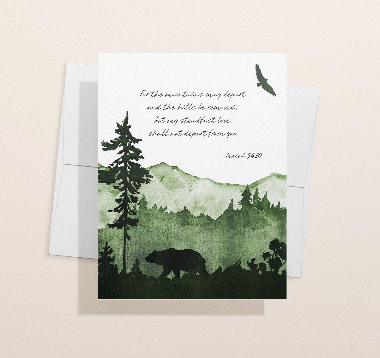 Green mountain themed sympathy design with envelope