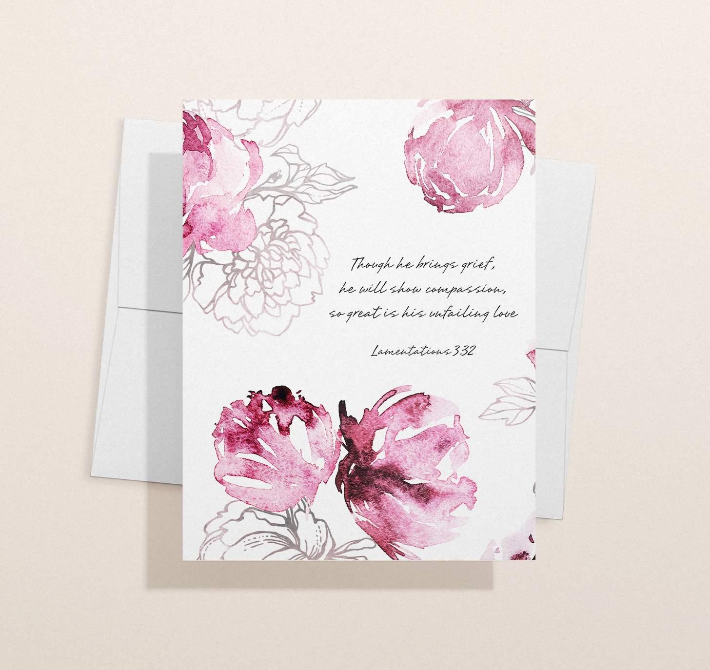 Pink floral themed sympathy design with envelope