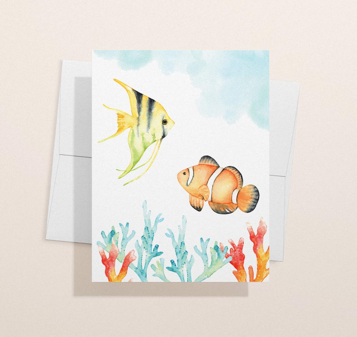 Watercolor tropical fish design with envelope
