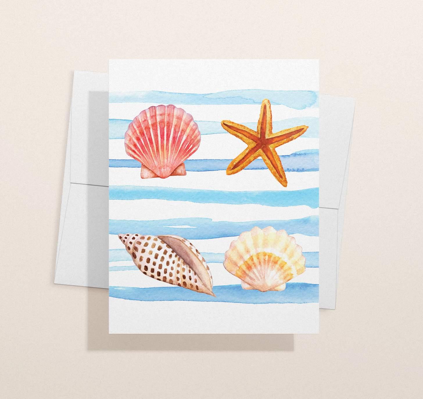 Watercolor seashells design with envelope