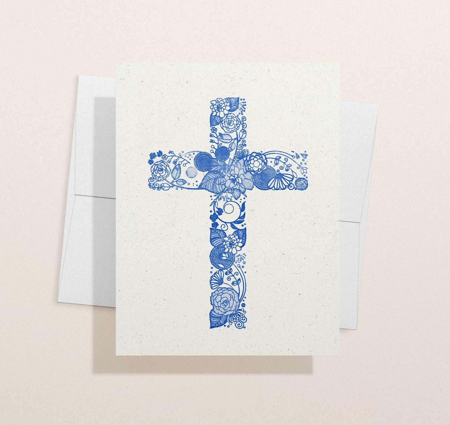 Blue floral cross design with envelope