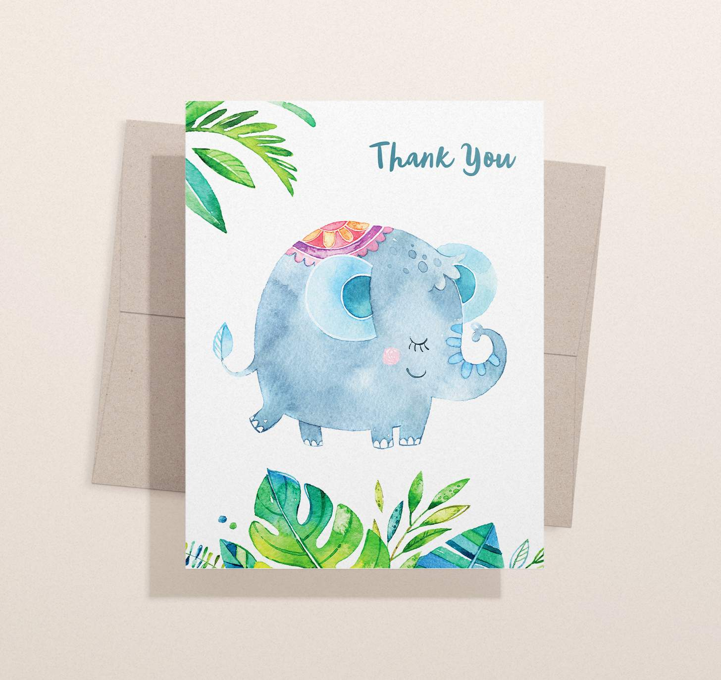 Cute blue elephant and green leaves design with envelope