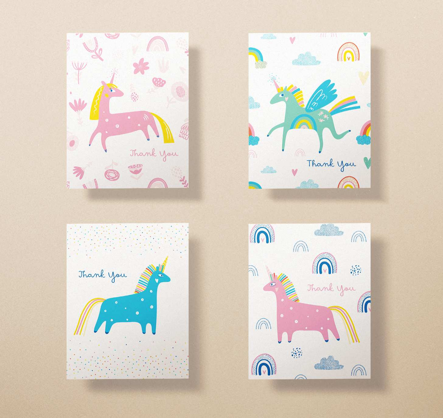Four assorted cute colorful unicorn thank you cards